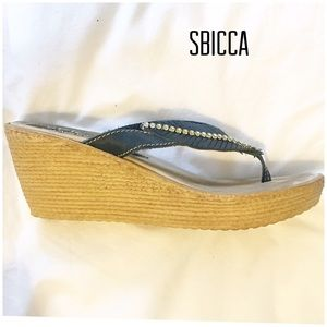SBICCA 9 Wedge rhinestone leaf sandal Wedge
